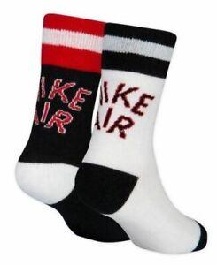 Nike Air | Boy's Kid's Black White Red Crew Socks  |  Size 10C-3Y