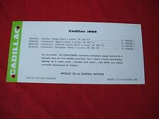 1969 Cadillac Price Comparision Card GENERAL MOTORS BELGIUM  price in francs