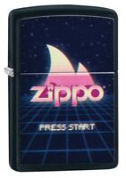 Zippo Gaming Flame Logo Design Black Matte Windproof Pocket Lighter, 49115
