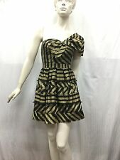 Sretsis by Pim Skhahuta UK 6 One Shoulder Gold Black Large Bow Party Dress