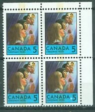New Listing1969 Canada Christmas 5¢ Blk of 4 Ur - Wcb - Uni#502