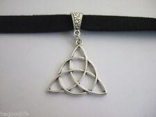 1pcs Black Flat Suede Leather Three Triquetra Celtic Knot Choker Necklace 13''