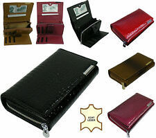 Kleine Geldbörsen aus Leder mit umlaufendem Reißverschluss für Damen