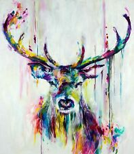 """Colourful Stag PICTURE CANVAS WALL ART 30""""X30"""" on 38MM FRAME"""