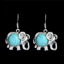 Bohemian National Elephant Turquoise Stone Women's Dangle Earrings Ear hook Gift