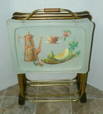 Vintage 4 TV Tray Set Metal w/ Rolling Stand