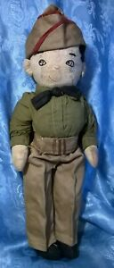"""VTG.1940's?WORLD WAR ll. SOFT SCULPTURE ARMY/MILITARY/SOLDIER DOLL.12""""H.GOOD.CON"""
