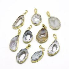 5× Plated Natural Druzy Grey Agate Pendant Golden Jewelry Finding Charm Gemstone