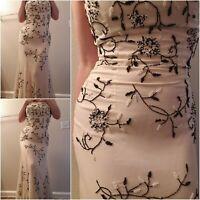 VTG SCALA Ivory Silk chiffon dress sz M black beaded strapless elegant prom sexy