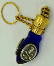 ONE OF A KIND Victorian Cobalt Blue Poison triangle bottle.Gold plated Skull cap