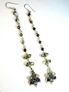 Beautiful 925 St. Silver Long Earring Studded with Assorted Stones