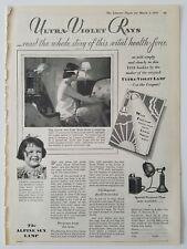 1929 vintage Alpine sun lamp ultraviolet rays woman goggles slip lingerie ad