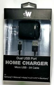 Just Wireless 3.4 Amp Dual USB port Wall Charger with Micro USB Cable - Black