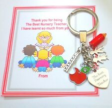 Best Nursery Teacher Gift Thank you Gift Key Ring Term on part completed Card