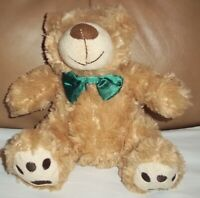 "TESCO ""CUDDLE ME FRIENDS"" TRADITIONAL GREEN BOW BEAR SOFT COMFORTER TOY 160601"