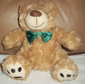 """TESCO """"CUDDLE ME FRIENDS"""" TRADITIONAL GREEN BOW BEAR SOFT COMFORTER TOY 160601"""