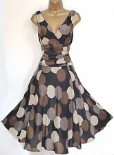 MONSOON ✩ STUNNING SARAH SILK SPOT ORIANE COCKTAIL DRESS ✩ SIZE 8