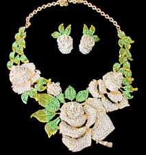 Exceptional Clear Ice AB & Green CRYSTAL Flower Necklace & Earrings Set!