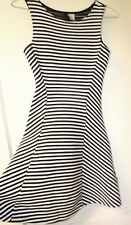 Divided H&M Fit and Flare Skater Dress White Black Striped size 2