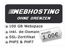 Webhosting mit 100 GB Webspace + SSL-Zertifikat, .DE-Domain, PHP5/7 + MySQL uvm.
