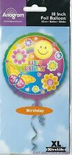 "Happy Birthday 18"" Foil Balloon Round Retro Smiley Face 60's Butterfly Flowers"