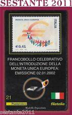 TESSERA FILATELICA FRANCOBOLLO INTRODUZIONE MONETA UNICA EUROPEA 2002 D91