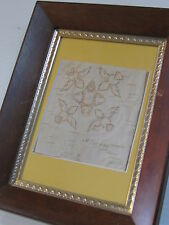 BIRCH BARK BITING, NATIVE AMERICAN, 9 X 7 INCHES  FRAME WITH  YELLOW MATTE