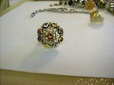 SS 9K YELLOW GOLD CZ FLOWER RING PRICED TO SELL