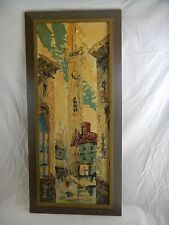 "Neat orig. c1960's signed listed Elmo Gideon ""Normandy Street Scene"" Oil / Board"