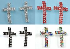 5 Pcs Rhinestone Diamante Silver Plated Curved Cross Charm Bracelet Spacer Beads
