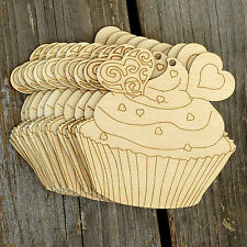 10x Wooden Cupcake F Chocolate Hearts Craft Shapes 3mm Plywood Cooking Pudding