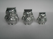 Decorative Metal Owls set of 3 pieces Figurine Sculpture Statue au