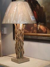 Designer bois flotté Contemporaine Lampe De Table Avec Naturel Beige Nuance H:61cm