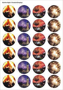 24X PRECUT BONFIRE NIGHT FIREWORKS 1 EDIBLE WAFER CUPCAKE CAKE TOPPERS 1434