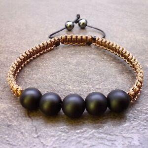 Mens beaded braid bracelet stone bead onyx jewelry cuff wristband bangle men