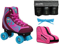 Epic Cotton Candy Quad Roller Skate 4Pc. Bundle With Bag & Safety Pads