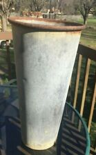 "Vintage GALVANIZED METAL VASE-BUCKET-PRIMITIVE PAINT-SHABBY- UNIQUE-18""TALL"