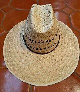 Wide Brim NATURAL STRAW HAT Summer Sombrero BEACH GARDENING LIFEGUARD 078 MEXICO