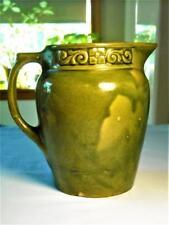 Vintage Bennington Olive Green Pottery Pitcher w/ Design 1880's
