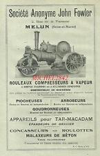 Publicité 1923 Rouleau compresseur à vapeur John Fowler Travaux publics