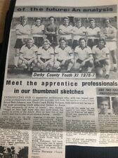 A1-7 Ephemera 1976 Picture Football Derby County Youth Xi With Players Biogs