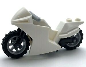 Lego New White Police Racing Motorcycle Sport Bike Black Frame and Wheels City