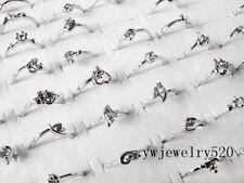 FREE Wholesale Lots 10pcs Crystal Of Rhinestone Silver Plated wedding Rings