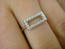 !UNIQUE 14K WHITE GOLD DIAMOND RECTANGULAR DESIGNER RING 0.20 CT T.W. SIZE 6