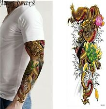 GOLDEN Dragon Rosa Fiore Tatuaggio Temporaneo Maniche adulti FAKE tattoo adesivi