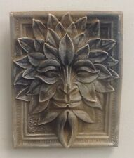 Antique Finish Green Man Forest God Season Leaf Face Mask Wall Sculpture