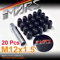20x Black Mars Performance wheels M12 x 1.5 mm ultra slim 7 spline Lug Lock Nuts
