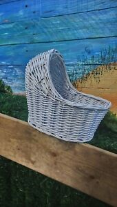 White crib shape wicker basket. Ideal for making gift set of baby items