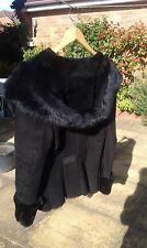 Genuine black Toscana sheepskin / fur jacket with exaggerated hood - new!