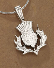 "Silver Scottish Thistle Pendant, Great Britain Coin Jewelry ,  1""  ( # 138BS )"